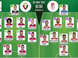Alineaciones del encuentro de Segunda División Osasuna-Granada. BeSoccer