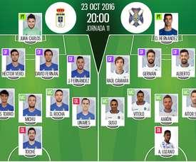 Alineaciones del encuentro de Segunda División Oviedo-Tenerife, pertenecientes a octubre de 2016. BeSoccer