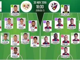Alineaciones del encuentro de Segunda División Rayo-Huesca, pertenecientes a noviembre de 2016. BeSoccer