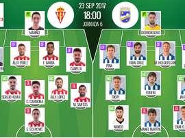 Alineaciones del encuentro de Segunda División Sporting-Lorca. BeSoccer