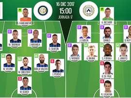 Alineaciones del encuentro de Serie A Inter-Udinese. BeSoccer