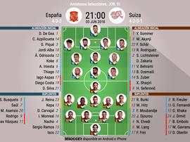 Alineaciones del España-Suiza, amistoso de preparación para el Mundial de Rusia 2018. BeSoccer