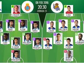 Alineaciones del Espanyol y la Real Sociedad para la jornada 22 de la Liga 2015-16. BeSoccer