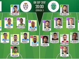 Les compos officielles du match de portugais entre Feirense et le Sporting Portugal. BeSoccer