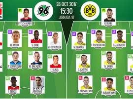 Escalações oficiais de Hannover 96 e B. Dortmund para este jogo da Bundesliga. BeSoccer