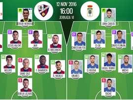 Alineaciones del Huesca-Oviedo de la jornada 14 de Segunda División 16-17. BeSoccer