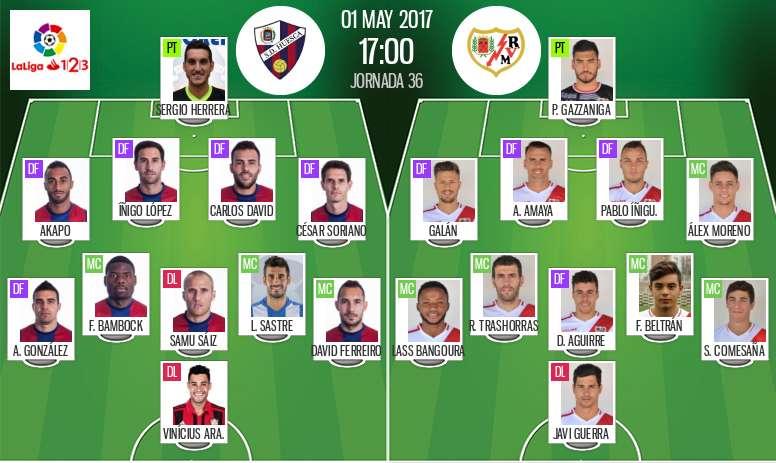 Alineaciones del Huesca-Rayo del 1-05-17. BeSoccer