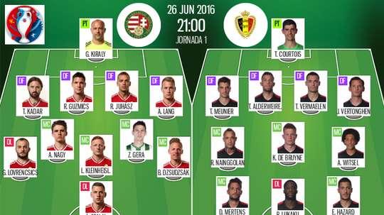 Line-ups for Hungary v Belgium, 26-06-16. BeSoccer