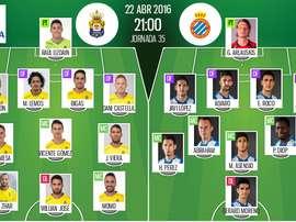Alineaciones del Las Palmas-Espanyol del 22-04-16. BeSoccer