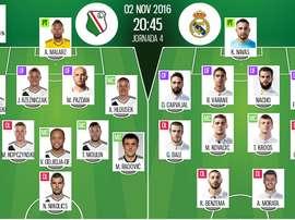 Line-ups for Legia Warsaw vs Real Madrid. BeSoccer