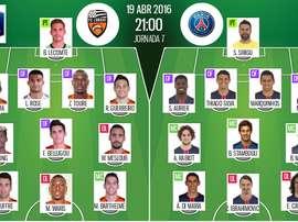 Alineaciones del Lorient y el PSG para el enfrentamiento de semifinales de la Copa de Francia 2015-16.BeSoccer