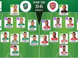 Alineaciones del Ludogorets-Arsenal del 1-11-16. BeSoccer
