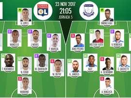 Les compos officielles du match d'Europa League entre Lyon et l'Apollon Limassol. BeSoccer