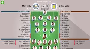 Alineaciones del Manchester City-Aston Villa de la jornada 1 de la Premier. BeSoccer