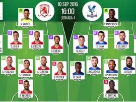 Alineaciones del Middlesbrough-Crystal Palace de la jornada 4 de la Premier 16-17. BeSoccer