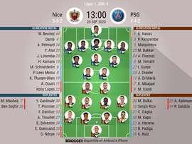 Alineaciones del Niza-PSG de la jornada 4 de la Ligue 1 2020-21. BeSoccer