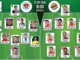 Alineaciones del Numancia-Nàstic de Tarragona de la jornada 5 de Segunda División 16-17. BeSoccer