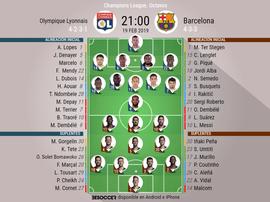 Le formazioni ufficiali di Olympique Lione-Barcellona. BeSoccer