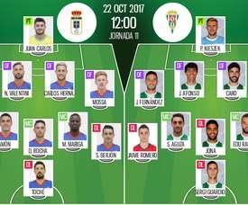 Alineaciones del Oviedo-Córdoba correspondiente a la Jornada 11 de Segunda 2017-18. BeSoccer
