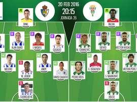 Alineaciones del Ponferradina-Córdoba de la jornada 26 de Segunda. BeSoccer