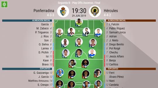 Alineaciones del Ponferradina-Hércules de la final del 'play off' de ascenso a Segunda. BeSoccer