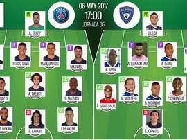 Alineaciones del PSG-Bastia del 06-05-17. BeSoccer