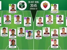 Alineaciones del Sassuolo-Roma del 26-10-16. BeSoccer