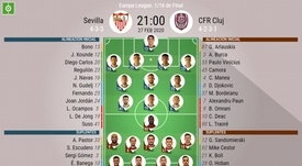 Onces del Sevilla-Club de vuelta de dieciseisavos de la Europa League. BeSoccer