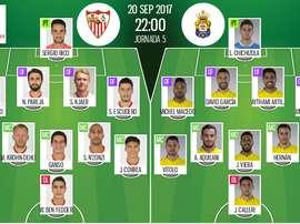 Onzes de Sevilla e Las Palmas para a partida desta noite. BeSoccer