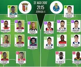 Os 11's iniciais de Sp. Braga e FC Porto para este jogo da Liga NSO. BeSoccer