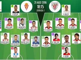 Alineaciones del Sporting-Athletic de la primera jornada de Liga 2016-17. BeSoccer
