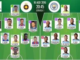 Alineaciones del Steaua Bucarest-Manchester City del 16-08-16. BeSoccer