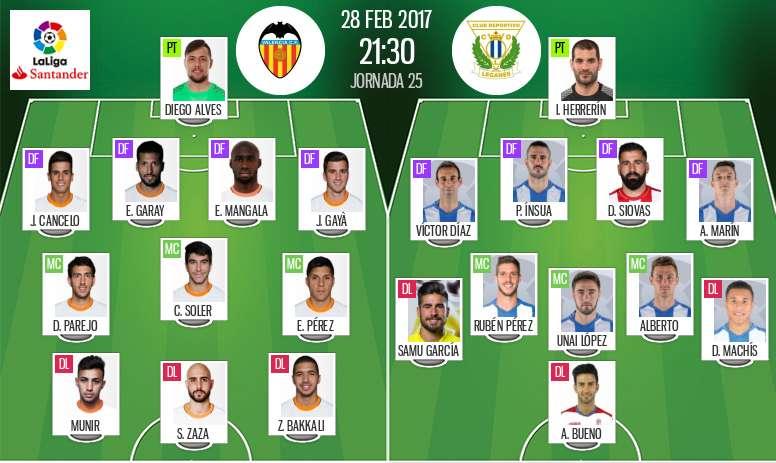 Alineaciones del Valencia-Leganés del 28-02-17. BeSoccer