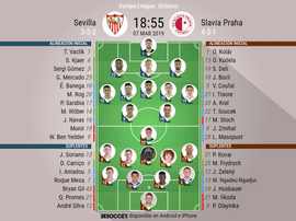 Onces iniciales del iniciales del Sevilla-Slavia de Praga. BeSoccer