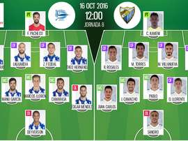 Alineaciones oficiales de Alavés y Málaga, que jugarán un partido correspondiente a la jornada 8 de la Primera División. BeSoccer