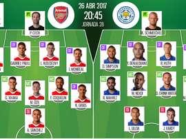 Alineaciones de Arsenal y Leicester, partido de la jornada 28 de la Premier League. BeSoccer