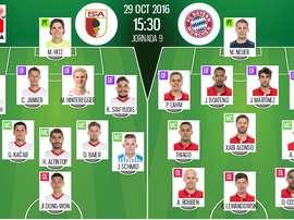 Alineaciones oficiales de Augsburgo y Bayern Múnich, partido correspondiente a la jornada 9 de la Bundesliga. BeSoccer