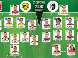 Alineaciones oficiales de Borussia Dortmund y Friburgo, del partido correspondiente a la jornada 5 de la Bundesliga. BeSoccer
