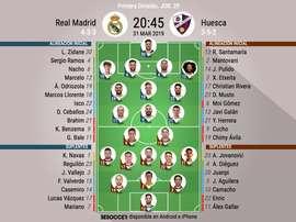 Le formazioni ufficiali di Real Madrid-Huesca. BeSoccer