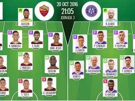 Alineaciones oficiales de Roma y Austria de Viena, partido correspondiente a la fase de grupos de la Europa League. BeSoccer