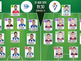 Alineaciones oficiales del Alavés-Eibar de la jornada 34 de Primera 2016-17. BeSoccer