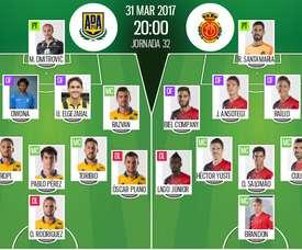 Alineaciones oficiales del Alcorcón-Mallorca de la Jornada 32 de Segunda División. BS