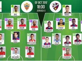 Alineaciones oficiales de Almería y Huesca. BeSoccer