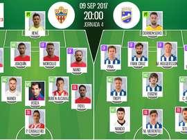Alineaciones oficiales del Almería-Lorca de Segunda División 2017-18. BeSoccer