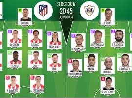 As escalações oficiais de Atlético de Madrid e Qarabag para este jogo da Champions. BeSoccer