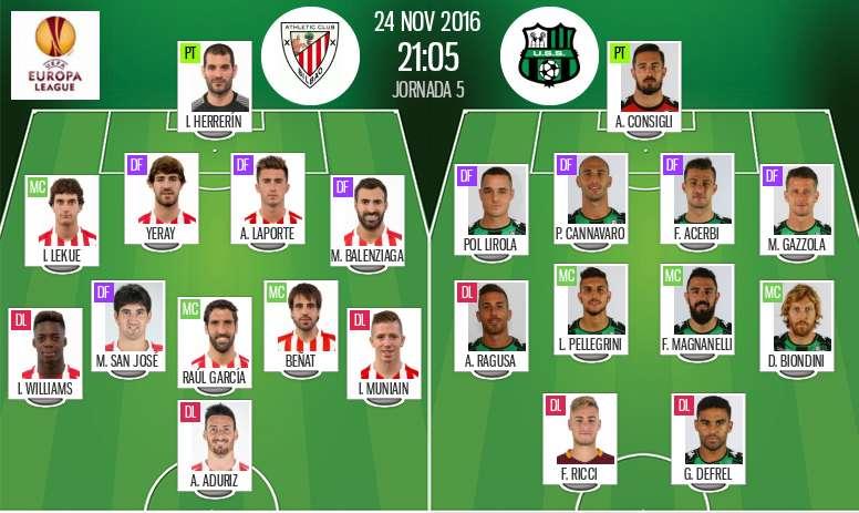 Alineaciones oficiales del Athletic de Bilbao-Sassuolo de la quinta jornada de la Europa League 2016