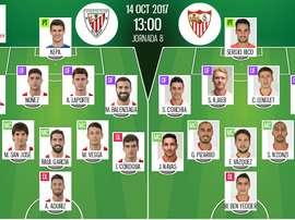 Escalações de Athletic e Sevilla, respetivamente. BeSoccer