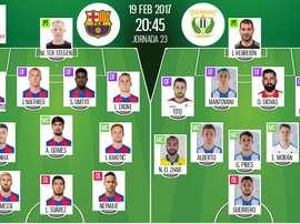Alinhamentos oficiais do Barça-Leganés da jornada 23 da Primeira Divisão 2016-17. BeSoccer