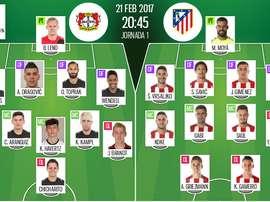 Alinhamentos oficiais do Bayer Leverkusen-Atlético de Madrid. BeSoccer