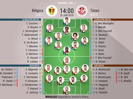 Alineaciones confirmadas del Bélgica-Túnez correspondiente a la Jornada 2. BeSoccer